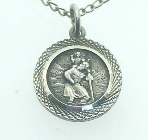 Vintage-Silver-Petite-St-Christopher-Christening-Baptism-15-3-4-034-Curb-Chain-2-3g