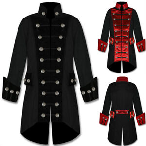 Steampunk-Men-Boy-Retro-Jacket-Gothic-Frock-Coat-Costume-Uniform-Cosplay-Outwear
