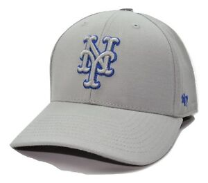 New York Mets 47 Brand MLB MVP TC Pop Gray Adjustable Baseball Cap ... a8351989a92
