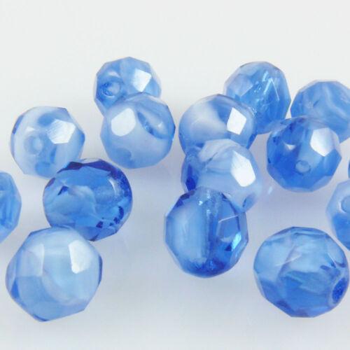 15 séquoia rodé perles à facettes 8mm perles bleu blanc Beads 105