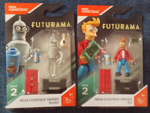 Mega CONSTRUX Heroes lot de 2 Futurama Bender et Fry Action Figures Series 2