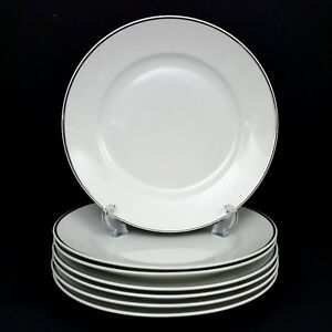 Rosenthal-3471-Aida-7-Dinner-Plates-White-Platinum-Band-10-in-Great-Cond-Vintage