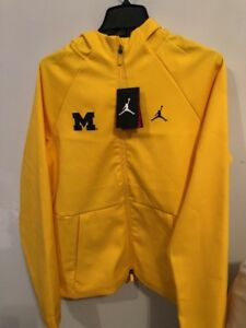Michigan Jordan Gear >> Details About Michigan Wolverines Nike Air Jordan Full Zip Sweatshirt Sz S Yellow Blue Rare