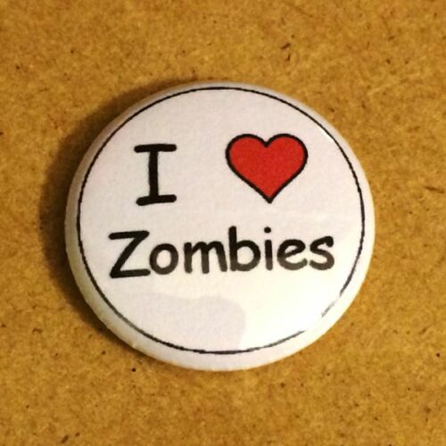 1 Inch I Heart Love Zombies Button Pin Pinback