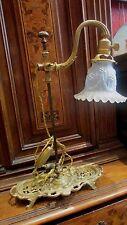 ancienne lampe de bureau laiton bronze ciselé st LXVI tulipe atelier epoque 1900