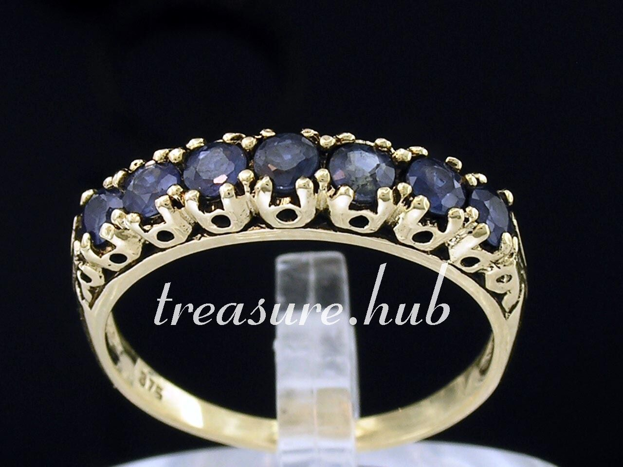 R302 - Genuine 9K Yellow gold Natural Sapphire 7-stone Eternity Ring size N