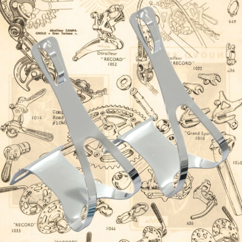 Fittings /& Leather Straps Retro Eroica Vintage Style Chromed Steel Toe Clips