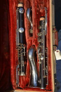 NOBLET PARIS WOOD BASS CLARINET,OVERHAULED,READY TO PLAY/CLARINO BASSO IN LEGNO