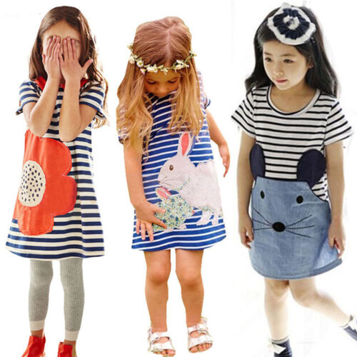 Baby Kids Girls Summer Tunic Striped Dress Casual Party Sundress Clothes Age 0-7