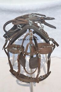BROWN-NYLON-DRIVING-HARNESS-FOR-SINGLE-HORSE-with-diamonte-browband-in-bridle