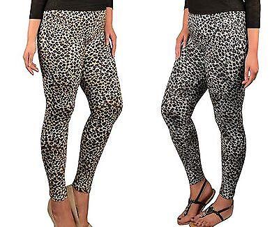 Frank New Cotton Leopard Legging Pant Women Plus Size 1x 2x 3x Brown & Gray