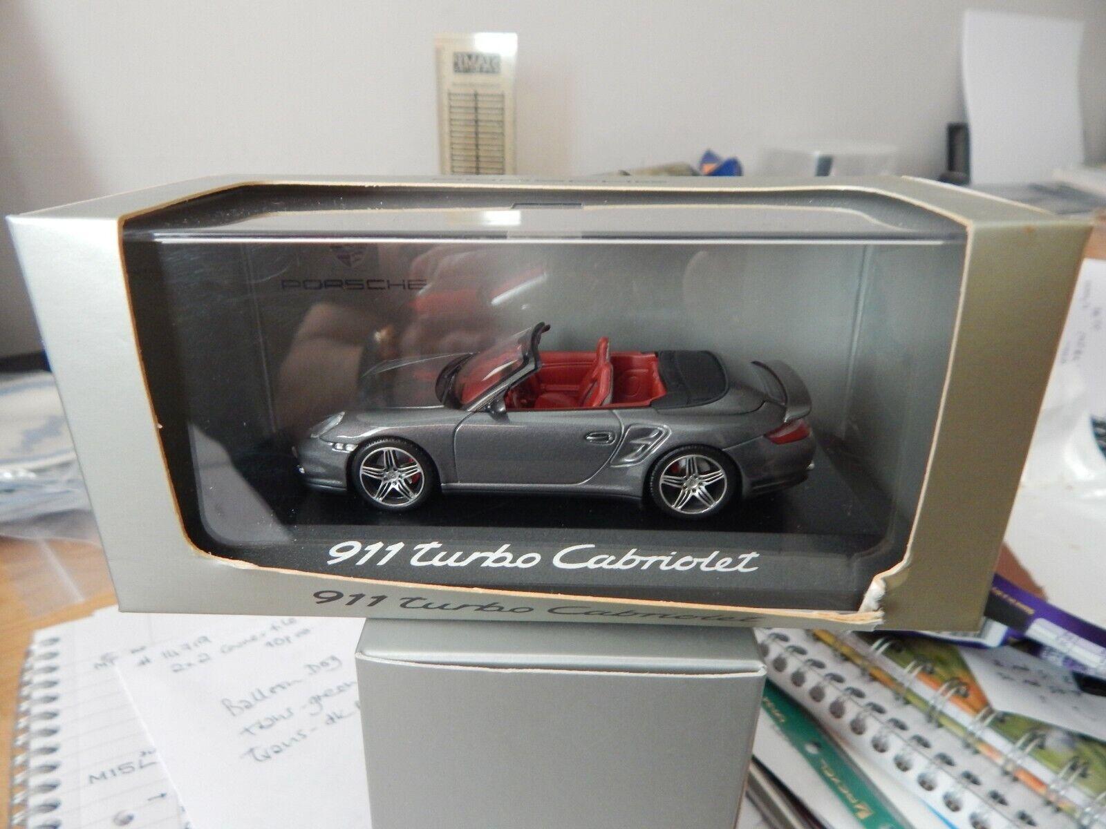 PORSCHE dealer Minichamps 1 43 911 Turbo Cabriolet  WAP 02000218 Meteor grau