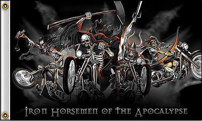 IRON HORSEMEN OF THE APOCALYPSE MOTORCYCLE FLAG 5/' x 3/' Biker Motorbike