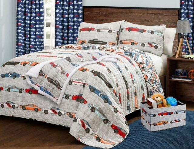 Race Cars Nascar Bedding Theme Printed Style Bedspread 2 Pillow Shams Sapphire Home 3pc Bedspread Quilt Set Full Size for Kids Teens Boys Gray Full Bedspread