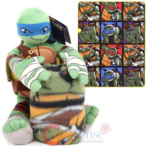 TMNT Ninja Turtles Fleece Throw Blanket with Leonardo Plush Doll Pillow Set