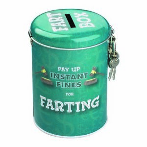 Farting Fines Money Tin – Piggy Bank Coin Coins Cash Savings Lock Key