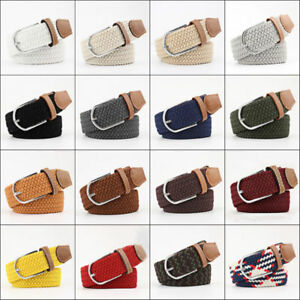 """Mens Womens strap Leather Covered Buckle Woven Elastic Stretch Belt 1-1//4/"""" Wide"""