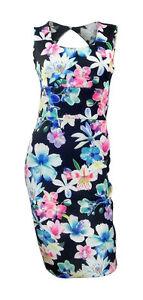 NEW-LOOK-colore-motif-fleur-sur-fond-noir-tube-tissu-ajuste-Robe