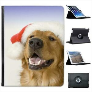 Golden-Retriever-Dog-With-Christmas-Hat-Folio-Leather-Case-For-iPad-2-3-amp-4