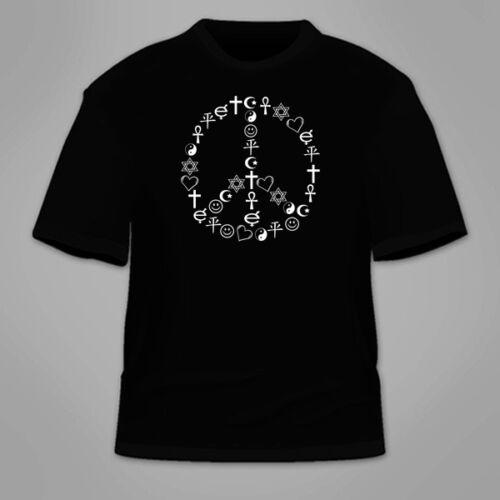Peaceful Coexist Hippie Hippy TShirt Freedom Equality Peace Symbols T-Shirt