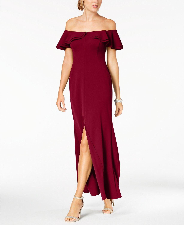 NIGHTWAY damen rot RUFFLED OFF- SHOULDER EVENING GOWN DRESS Größe 8