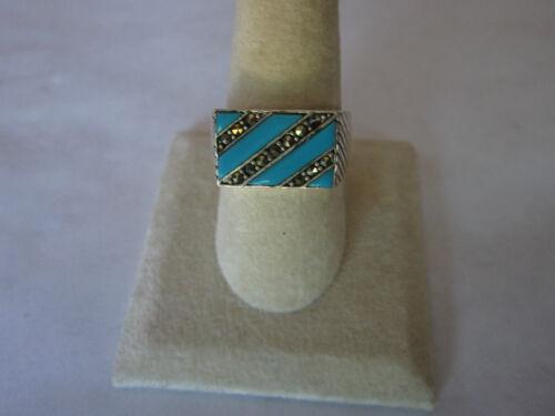 Argent sterling Bague 925 Argent Synthétique Turquoise Carré Plat Femme Taille 12