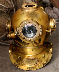 "Vintage Diving Helmet Vintage Deep Sea Full Size 18/"" US Navy Mark V Scuba Helm"