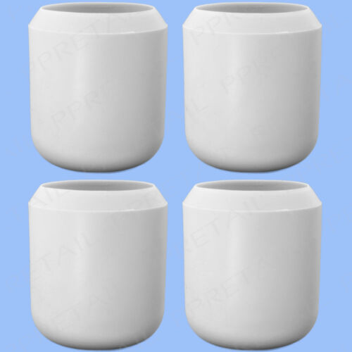 """4 x THICK WHITE RUBBER WALKING STICK CAPS 1/"""" HIGH QUALITY Large Grip Ends 25mm"""
