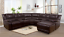 thumbnail 1 - NEW Brown Leather Recliner Sectional w/ Chaise & 4 Cupholder & 2 Console Storage