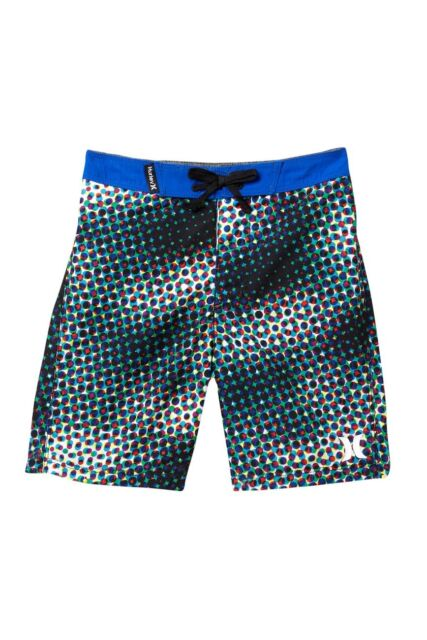 48a2914c95 Hurley Boys Toddler 4/4T Board Shorts Mesh Lined Swim Trunks Dot Blue Black  Red