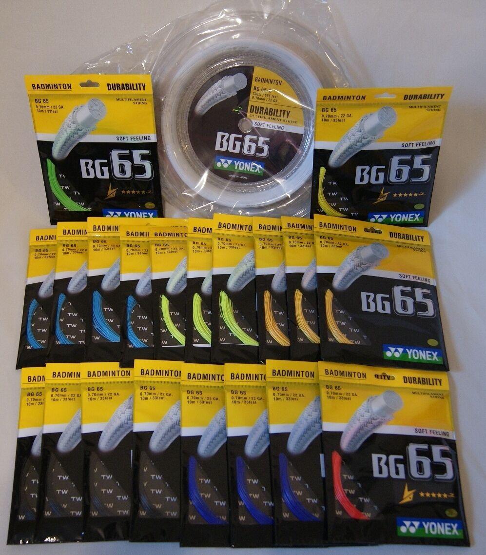 100% Yonex BG65 cadena (carrete) _ BG-65 X 200 metros bobina _ BG65 paquetes de 200M+BG65 (10m)