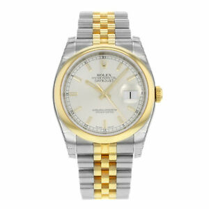 Rolex-Datejust-116203-SSJ-Steel-18K-Yellow-Gold-Silver-Dial-Automatic-Mens-Watch