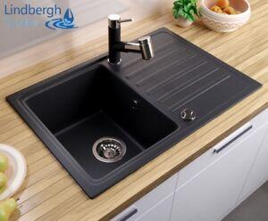 """Lindbergh ® Granit évier """"pop"""" Incl. Siphon Installation Lavabo évier De Cuisine évier Cuisine-afficher Le Titre D'origine Luxuriant In Design"""