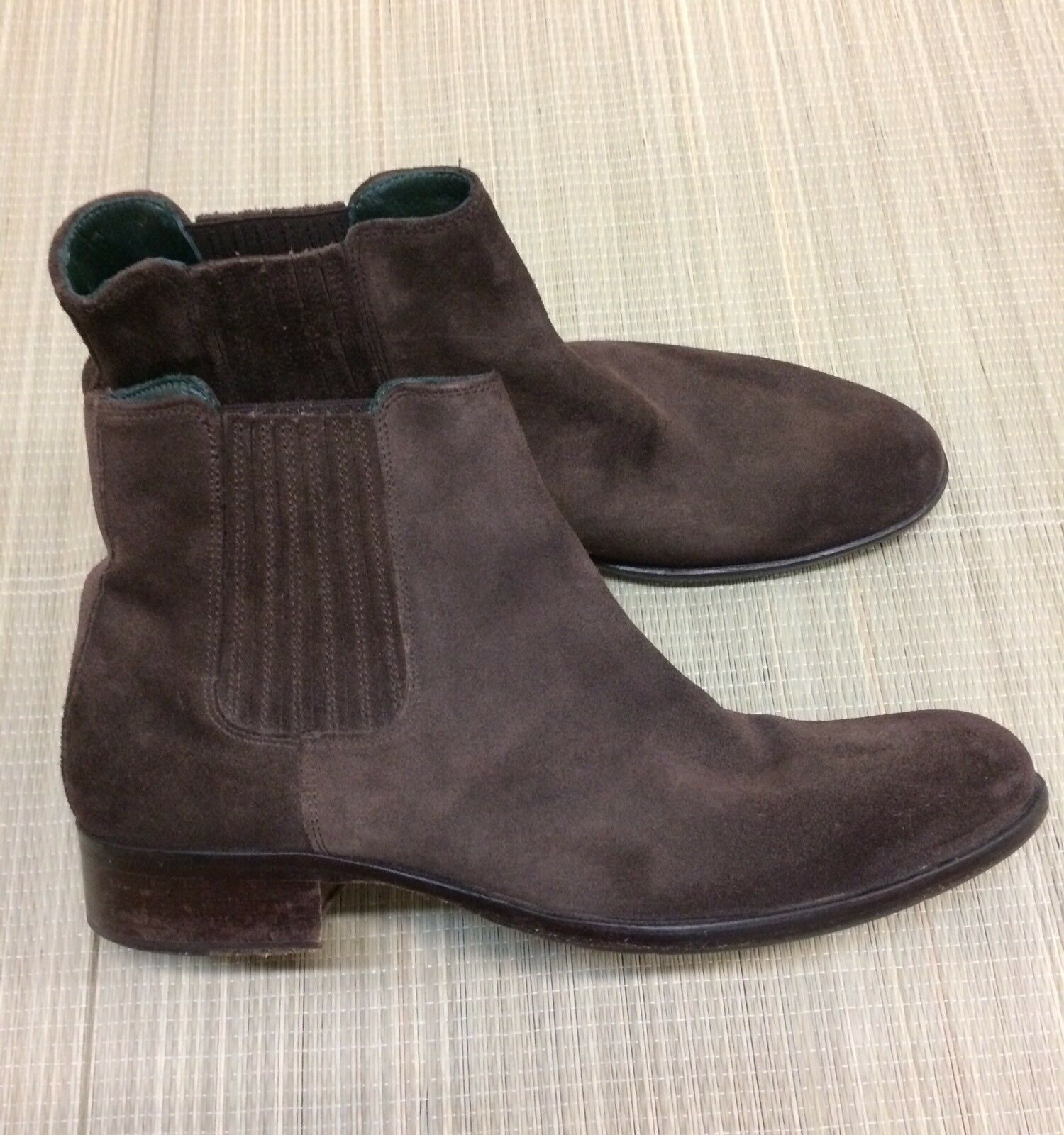 Kenneth Cole New York Chelsea Brown Suede Ankle Boots Mens 9 Made In Italy EUC