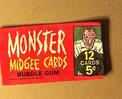 Rare Vintage 1963 Topps Monster Midgee Wax Pack Wrapper in Very Nice Condition