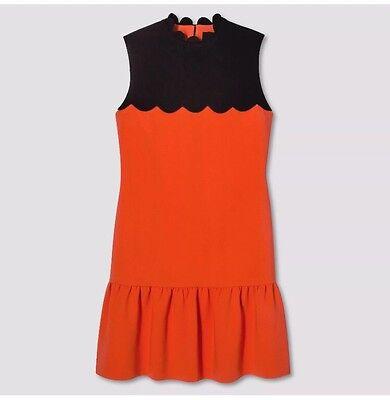 Victoria Beckham for Target Women's Orange/ Black Drop Waist Casual Dress Size M