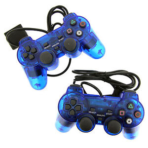 2X-Blue-Twin-Shock-Game-Controller-Joypad-Pad-for-Sony-PS2-Playstation-2