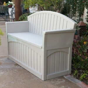 Fine Details About Patio Storage Bench Outdoor Seat Furniture Plastic Deck Box Pool Seating Store Dailytribune Chair Design For Home Dailytribuneorg