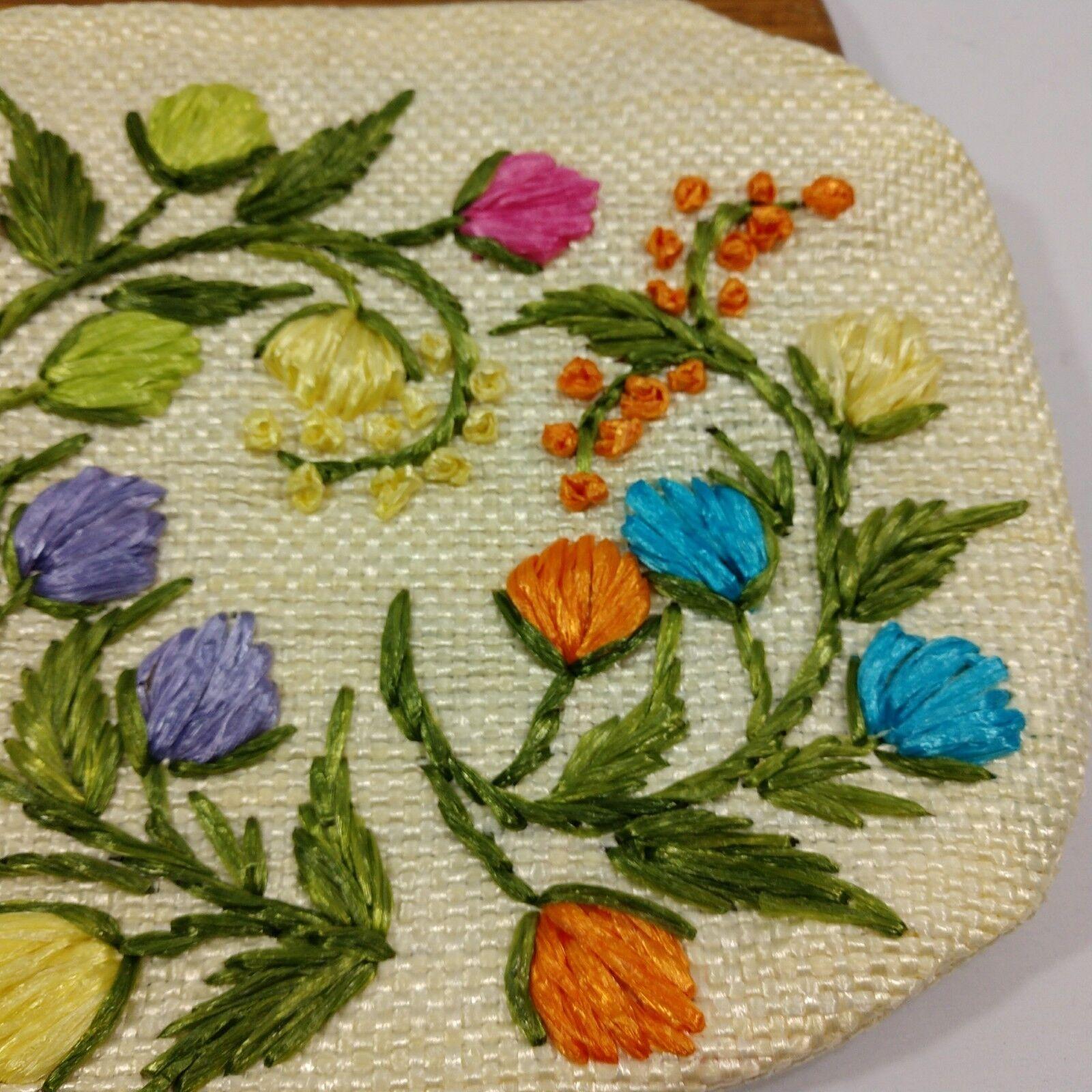 Vintage 60s Raffia Handbag Floral Print Top Handl… - image 5
