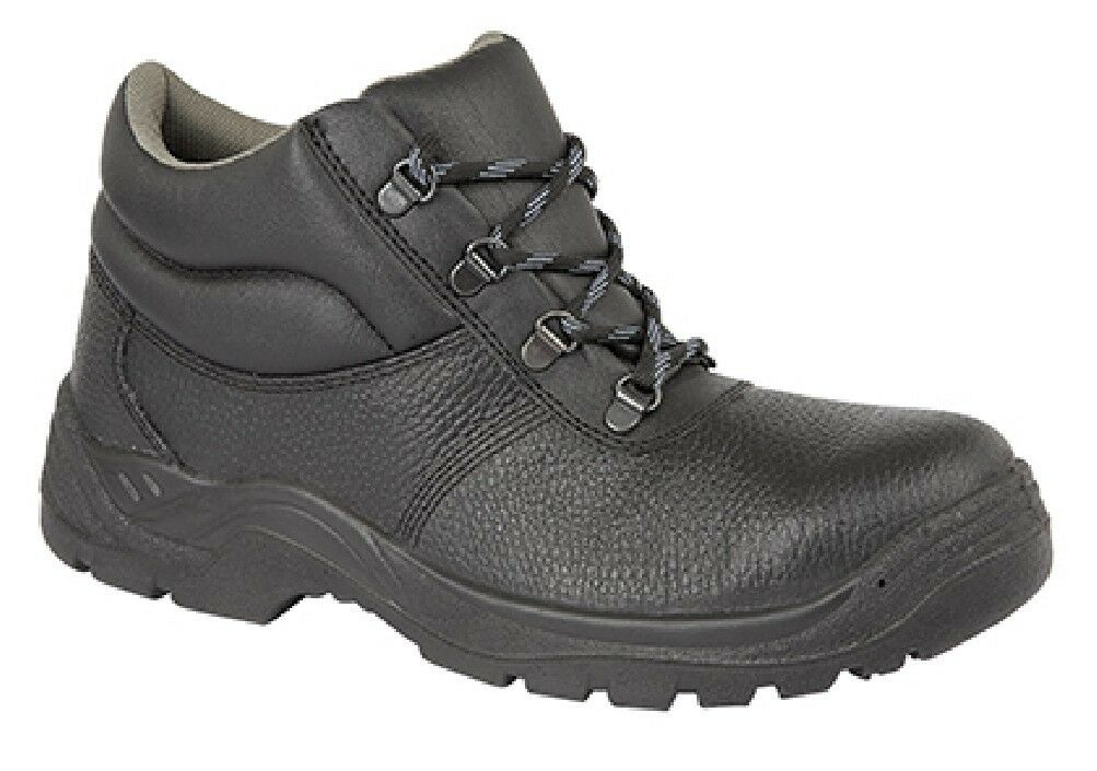 Grafters M9536a Essential Unisex black Colletto Imbottito pelle shoes Sicurezza