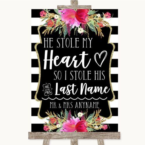 Wedding Sign Poster Print Black /& White Stripes Pink Stole Last Name
