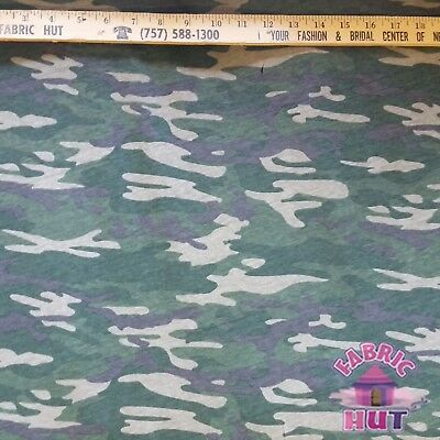 Techno Knit Polyester Poly Spandex Olive Camo Camouflage Print Fabric by Yard