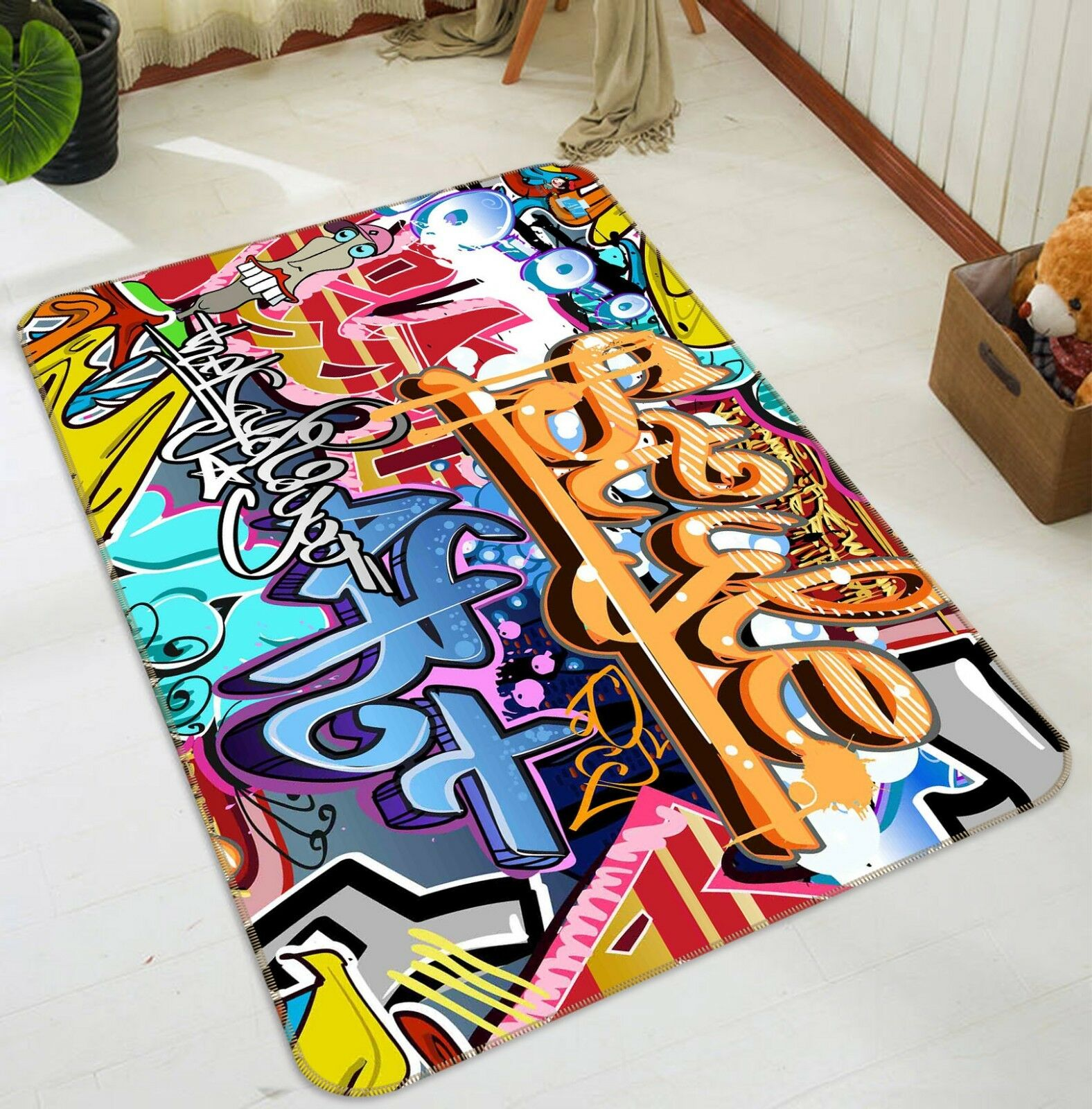 3D Coloree Graffiti 789 Non Slip Rug Mat Room Mat Quality Elegant Photo Carpet US