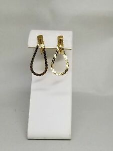Monet-Vintage-Gold-Tone-Chain-Loop-Clip-On-Earrings