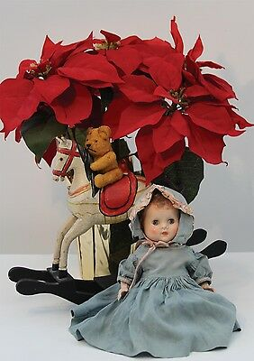 Quality A5 Blank Christmas Card - Vintage Antique Roddy Doll with Red Poinsettia