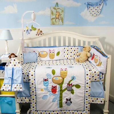 Soho Baby Crib Bedding 10 Piece Set, Owl Nursery Bedding Yellow