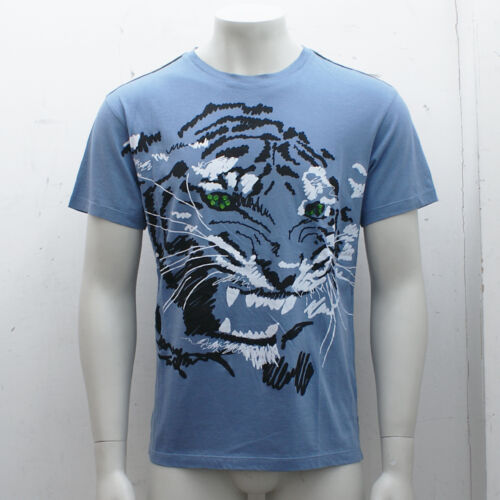 NEW Lanvin Blue Tiger Print T-Shirt Top with Sequins GENUINE RRP £145 BNWT XL
