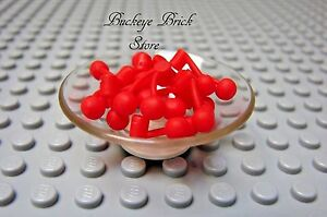 LEGO-Food-Kitchen-Minifig-Accessory-Bowl-of-Fruit-Cherries-Cherry-Clear-Platter