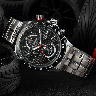 CURREN New Fashion Men's Date Stainless Steel Military Sport Quartz Wrist Watch