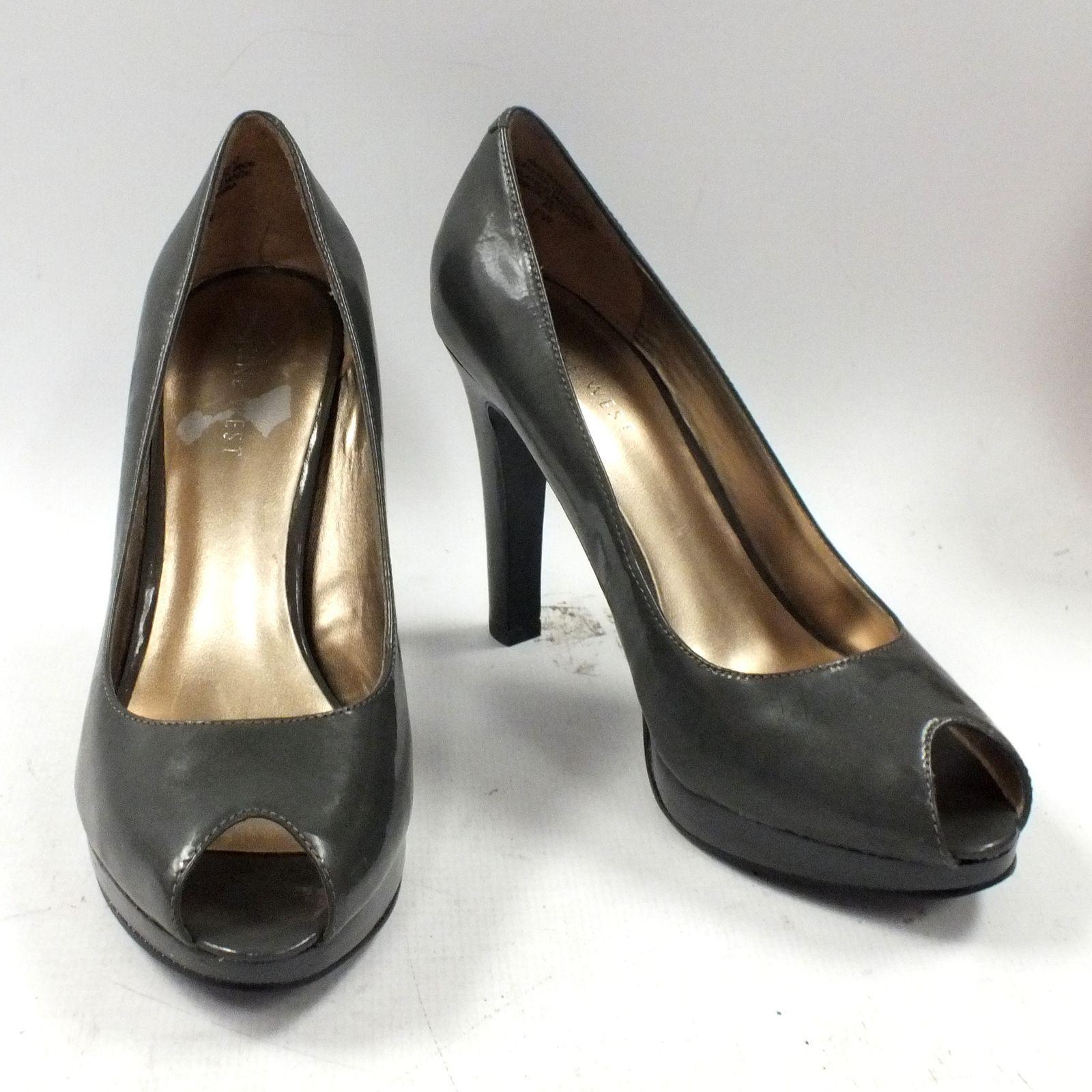 BNIB Ladies NINE WEST Peep Toe Dark Grey Francisco High Heel Shoes, UK Size 5